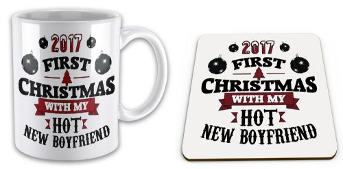 Set of 2017 First Christmas With My Hot New... Funny Mug w/ Coaster
